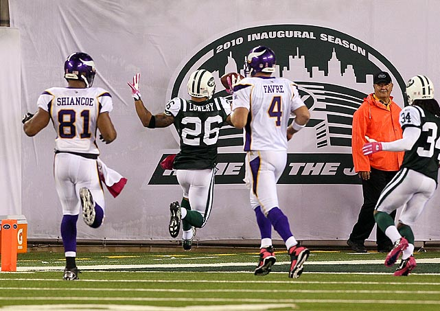 Brett Favre appeared poised to lead one of his renowned late-game comebacks against the Jets in Week 5, having already fired two TDs to Percy Harvin earlier in the fourth quarter.  He wasn't so lucky with his attempt with 1:38 remaining, as Lowery cut in front of intended target Visanthe Shiancoe and sprinted 26 yards to clinch a New York win.