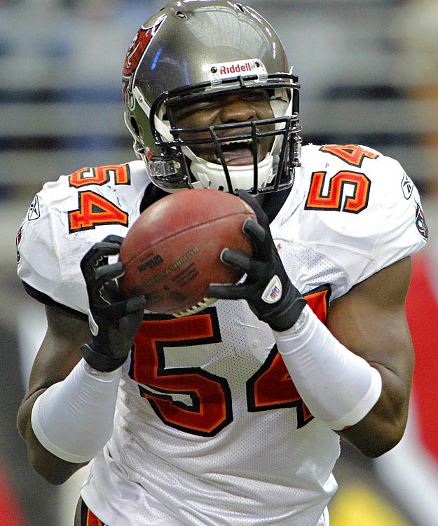 Geno Hayes started the Bucs' scoring in their Halloween matchup with the Cardinals, bringing down an off-target Max Hall pass and running 41 yards -- untouched -- into the end zone to tie the game at seven.  The third-year linebacker was quite the scoring threat for Tampa Bay, taking a fumble recovery back for a touchdown later in the contest.