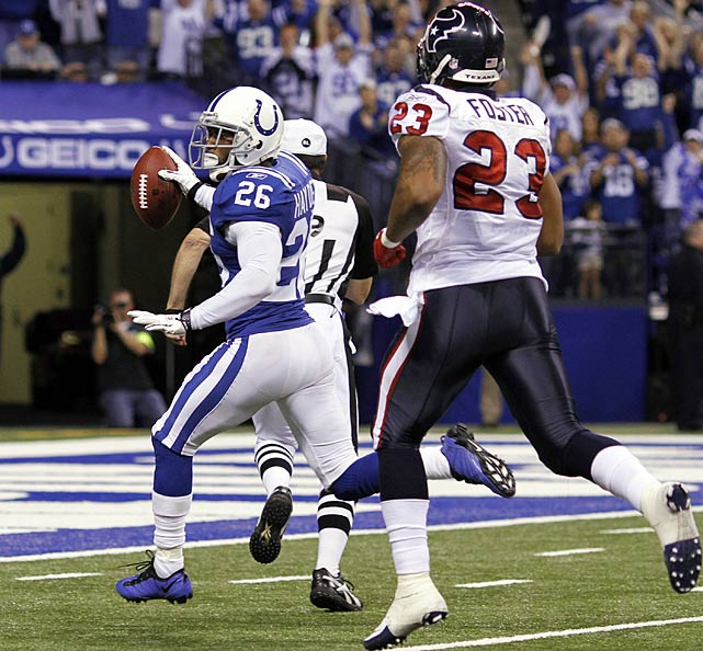 Indianapolis piled up 30 points in its Week 8 showdown with Houston, six of which came when Kelvin Hayden plucked a Matt Schaub pass and sprinted 25 yards in the other direction.  It was business as usual for Hayden and Co., as they've beaten the Texans in each of their nine meetings with their division foe in Indianapolis.