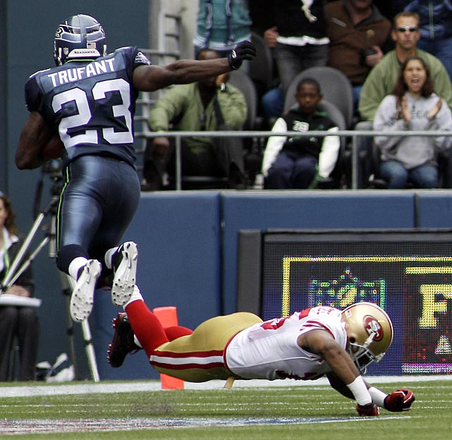 Marcus Trufant started the 49ers woes in Week 1, taking advantage of San Francisco miscommunication to catch an Alex Smith pass at the SF 30-yard line. He scampered all the way into the end zone -- hurdling receiver Michael Crabtree in the process -- to extend Seattle's 14-6 lead.  The Seahawks would cruise to a comfortable 31-6 win.
