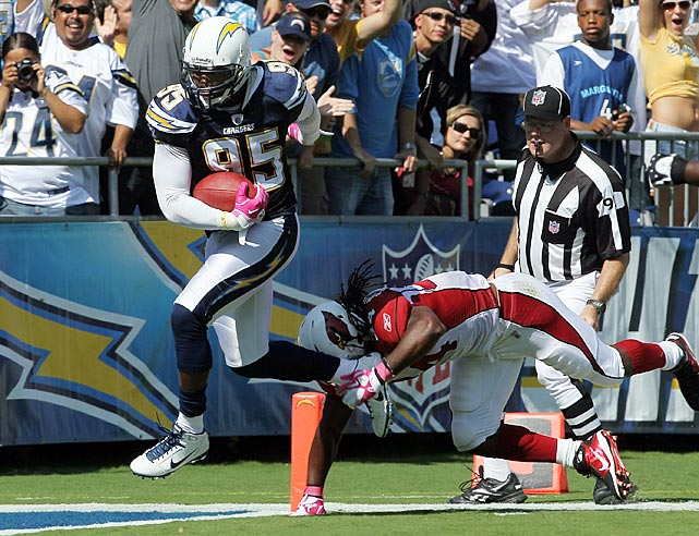 A playmaker throughout his seven-year NFL career, Shaun Phillips came up with another momentum-shifting effort on Oct. 3.  He carried a Derek Anderson pass 31 yards for a touchdown, extending San Diego's lead to 28-7 over the Arizona Cardinals.  Anderson would have plenty of time to mull over his poor decision; he was benched in favor of rookie Max Hall later in the contest.