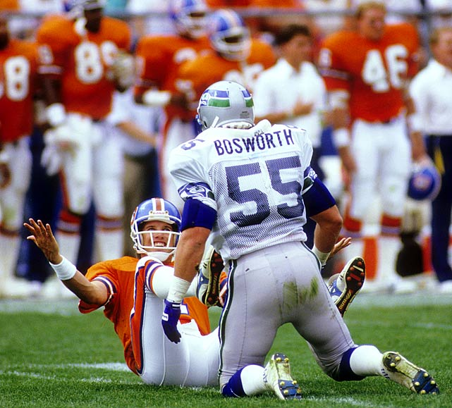 Broncos quarterback John Elway and Brian Bosworth had this run-in during the Sept. 13 opener in Denver.