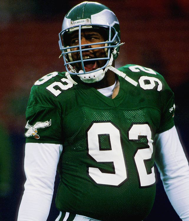 "Mouthing off before a Dec. 20 game against the New York Jets is Eagles' defensive end Reggie White.  White was truly unstoppable during the 1987 season, accumulating 21 sacks, tops in the NFL.  The ""Minister of Defense"" was virtually unblockable during his eight years for the Eagles, registering 124 sacks, an alltime Philadelphia record.  He remains the NFL's second all-time sacks leader with 198."