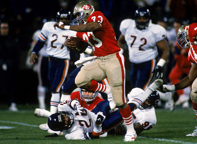 The Bears were just one of the many victims of the 49ers' 1987 campaign as Bill Walsh's boys finished 13-2 heading into the playoffs.  Their offense was prolific -- scoring an NFL leading 459 points -- and featured big names such as Joe Montana, Jerry Rice and Roger Craig.
