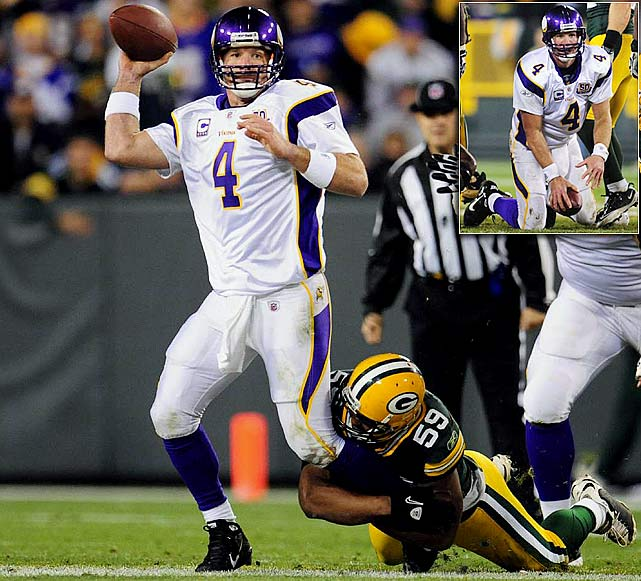 At 41 years old, Brett Favre isn't running around on fresh legs anymore.  Earlier this season,  X-rays revealed a stress fracture in his left ankle after Week 7's 28-24 defeat to Green Bay. The following week he was forced to leave a game against the Patriots after receiving a cut to his chin that required stitches.