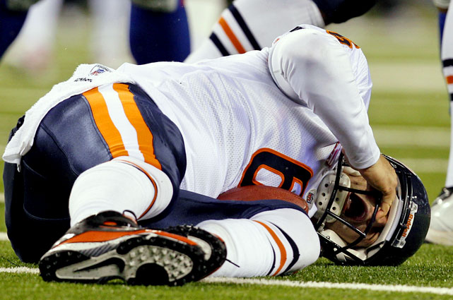 During a Week 4 showdown with the Giants, Jay Cutler was sacked.  Then he was sacked again.  Then again.  By the time the first half was over, the Bears' QB had been drilled a whopping nine times, sustaining a concussion in the process.