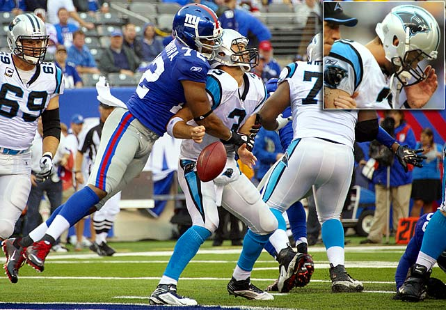 The first of five quarterbacks to be knocked out of a game by the New Giants this season, Moore left with a concussion after a blind side hit in Game 1. He passed the medical tests and was back on the field the following week. In Week 9 he tore the labrum in his throwing shoulder, necessitating season-ending surgery.