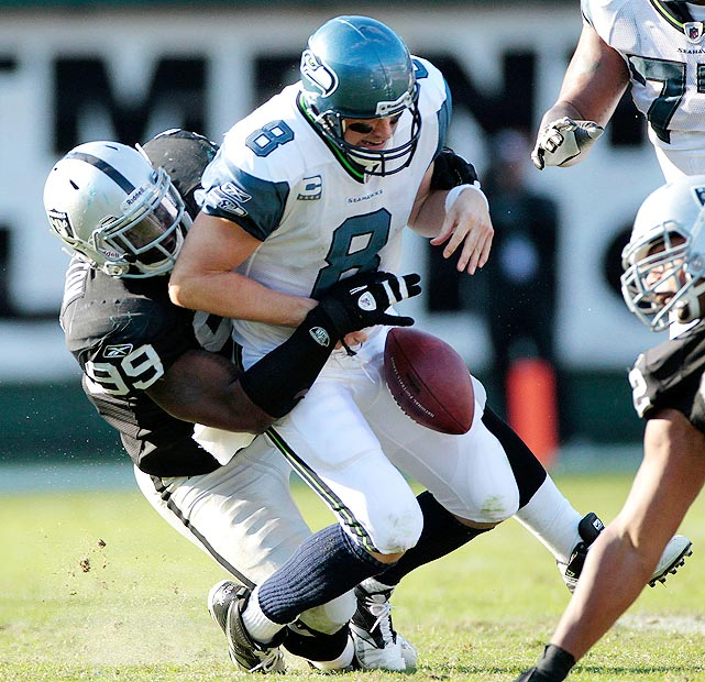 """Playing behind a porous Seattle offensive line, Matt Hasslebeck was sacked eight times by the Raiders in Week 8.  The Seahawks lost 33-3, and Hasslebeck was diagnosed with a """"slight"""" concussion.  Fearful of the Giants track record against quarterbacks, the Seahawks benched Hasslebeck during the Seahawks-Giants game in Week 9."""