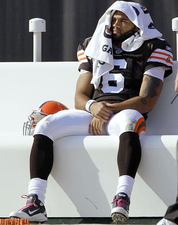Seneca Wallace seemed to have resolved Cleveland's QB issues after Delhomme's injury until the former Iowa State Cyclone suffered one of his own.  During a Week 5 game against Atlanta, Wallace tweaked his ankle, forcing him out of the contest.  With both Delhomme and Wallace recovering, rookie Colt McCoy has taken the reins, leading the team -- with lots of help from the defense -- to a stunning 30-17 upset of the defending-champion Saints in Week 7 and a victory over the Patriots in Week 9.