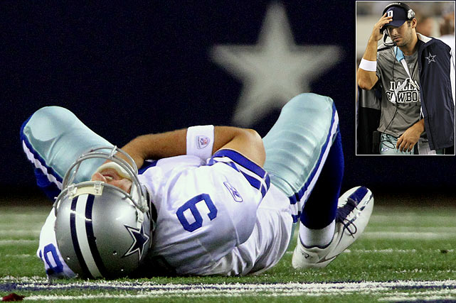 The 2010 season hasn't been easy on NFL quarterbacks. Here's a look at those who have missed time because of one injury or another, starting with Tony Romo, who's out indefinitely with a fractured clavicle. Romo suffered the injury after being sacked by an unblocked Michael Boley in a Week 7 game between the Dallas Cowboys and New York Giants.