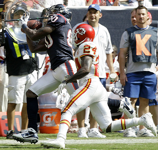 SI.com's Peter King deemed it an  awful pass-interference call.   With 1:45 left in the Week 6 matchup between the Texans and the Chiefs, the Texans trailed 31-28.  Texans quarterback Matt Schaub dropped back and found wide receiver Andre Johnson for a 31-yard gain.  A flag flew, and Chiefs cornerback Brandon Flowers believed the call would be offensive pass interference on Johnson.  The ruling, however, was on Flowers, though tv replays clearly showed Johnson creating space for the catch with his elbow. The Texans went on to win 35-31.