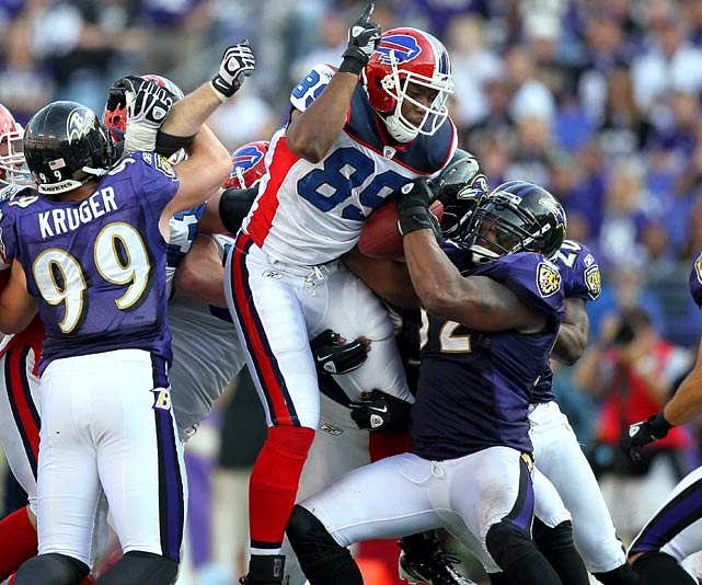After battling back from 10 points down with less than six minutes to play, the Bills forced overtime with the heavily-favored Ravens.  They appeared poised to complete their stunning upset until Shawn Nelson, Buffalo's second-year tight end, coughed up a fumble at his own 45.  The Bills fervently argued that Nelson's forward progressed was stopped -- his feet were lifted completely off the ground -- but it was to no avail.  The referees never reviewed Ray Lewis' strip, Billy Cundiff kicked a 38-yard field goal and Baltimore escaped with a narrow 37-34 win.