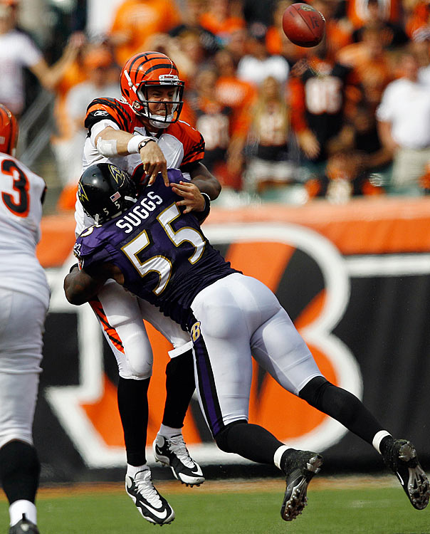"Ravens linebackers hate quarterbacks.  In 2009, Ray Lewis described several roughing-the-passer penalties that benefited Tom Brady as ""embarrassing to the game."" And in the Ravens Week 2 game against the Bengals this season, the Ravens defense contends quarterbacks once again benefited from preferential treatment.  Officials flagged Terrell Suggs for hitting Cincinnati quarterback Carson Palmer with 5:31 left in the game.  The NFL's former Vice President of Officiating, Mike Pereira, said officials were wrong to flag Suggs, stating that officials are instructed to err on the side of safety for quarterbacks.  The Ravens would go on to lose 15-10. (What controversial call would you add to the list? Send suggestions to siwriters@simail.com)"