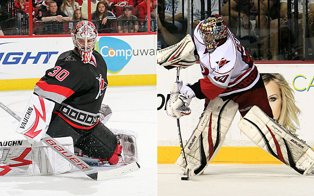 Ward is a one-man show in Raleigh, meaning if he gets hurt -- he has battled injuries throughout his career -- Justin Peters, age 24, is left as the understudy (nine games of NHL experience) in a starring role.    Click HERE  for Darren's take on the goaltending trend in the NHL.