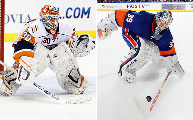 I have nothing but respect and admiration for how well Roloson played last season on the Island. Still, I want to see the athletic antics of DiPietro on display once again for the Islanders. The fans miss them and the Isles need the oft-injured first overall draft pick from 2000 to be at his acrobatic best.    Click HERE  for Darren's take on the goaltending trend in the NHL.