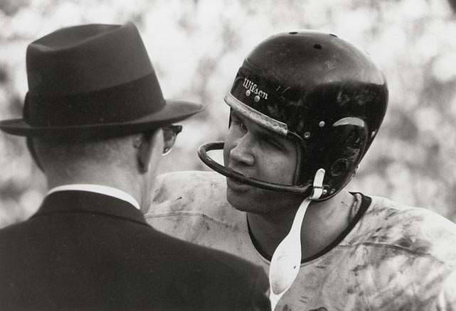 Drafted to be a block of granite for George Halas, Mike Ditka turned out to be a far more accomplished offensive player than the Bears expected.  In a 14-game rookie season he had 1,076 receiving yards (19.2 yards per catch) and 12 TDs.      Hall of Fame status:  First tight end inducted, 1988