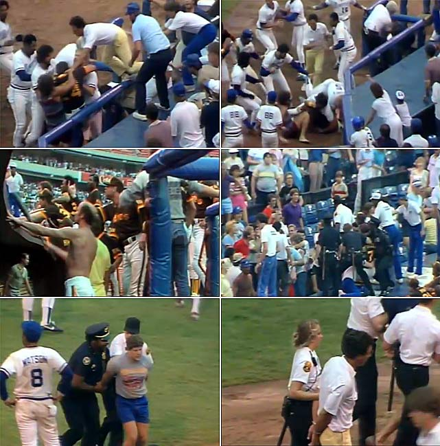 An ugly game filled with beanballs and four on-field brawls riled fans in Atlanta so much that one hit Padres outfielder Kurt Bevacqua in the head with a beer. Police stopped Bevacqua from going into the stands, and Braves Chris Chambliss and Jerry Royster tackled another would-be attacker near third base. In all, five fans were arrested and Padres manager Dick Williams was suspended 10 days and fined $10,000 for instructing his pitchers to throw at Braves batters.    CLICK HERE  to watch the video.