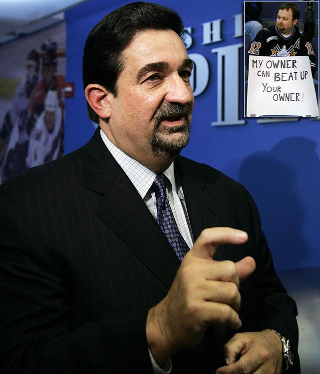 The Capitals owner received a week's suspension and his franchise was fined $100,000 after he scuffled with a heckler in Washington's MCI Center. The fan, a season ticket holder upset with the team's poor play and the recent trade of star forward Jaromir Jagr, had been serenading Leonsis as he sat in his luxury box during a loss to Philadelphia. The penalty was said to be the first ever handed out by the NHL to a team owner for physical contact with a fan.