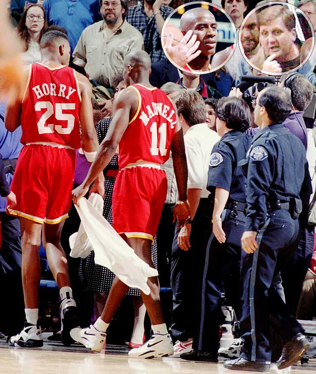 The Houston Rockets' guard took exception to a heckler and charged 12 rows into the stands at Portland's Memorial Coliseum. Maxwell's journey, and the subsequent punch he delivered, relieved his wallet of $20,000 and the Rockets of his services for 10 games.