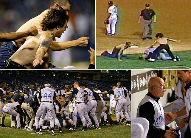 In one of baseball's most bizarre and alarming incidents, William Ligue Jr. and his son William III ran on the field at Chicago's Comiskey Park and jumped Royals first base coach Tom Gamboa, who they had been taunting. As the demented pair pummeled Gamboa, the rest of the Royals piled on to defend him. Gamboa suffered permanent hearing loss from the attack. The father pleaded guilty to aggravated battery and got 30 months probation. His son got five years worth.