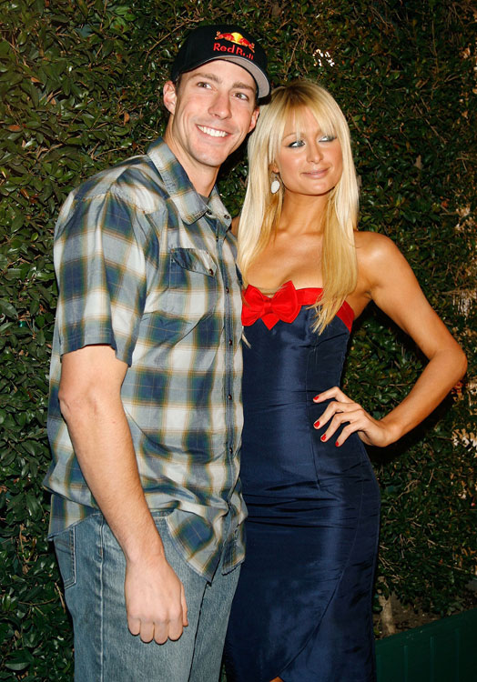 Travis Pastrana and celebutante Paris Hilton pose at the inaugural Arby's Action Sports Awards.
