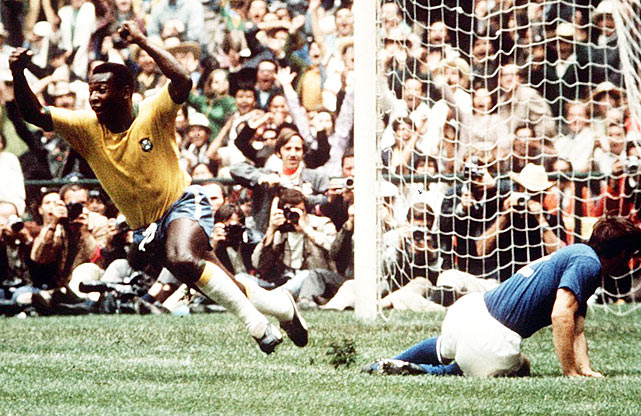 An elated Pele sprints to his teammates in celebration after knocking in the first goal of the 1970 World Cup final.  Pele and Co. were rejoicing all game, dusting Italy 4-1 in the championship.
