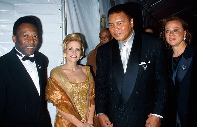Pele and his wife, Assiria, pose with boxing legend Muhammad Ali and his wife, Lonnie.  Regarded as the greatest to ever play their respective sports, Ali and Pele shared something else in common:  they both were known by titles other than their birth names.  Ali was originally born Cassius Clay, while Pele is officially named Edison Arantes do Nascimento.