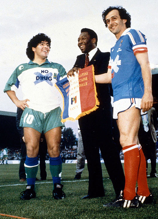 A spokesperson as well as an athlete, Pele promotes an anti-drug campaign before a match with Diego Maradona (left) and Michael Platini.  He used his fame to make a difference after soccer, serving as the United Nations ambassador for ecology and the environment.