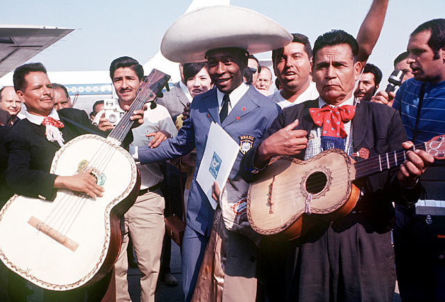 Pele is greeted by a mariachi band upon his arrival in Mexico for the 1970 World Cup.  He'd continue to impress the country over the course of the next month, racking up three goals in Brazil's eventual triumph.