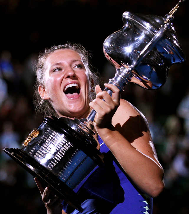 Victoria Azarenka knocked off Maria Sharapova in the 2012 Australian Open title, taking the top spot as a result. It marks her first Grand Slam title and first time reaching No. 1.  January 30, 2012 - June 11, 2012 July 9, 2012 - February 17, 2013   Total weeks: 52