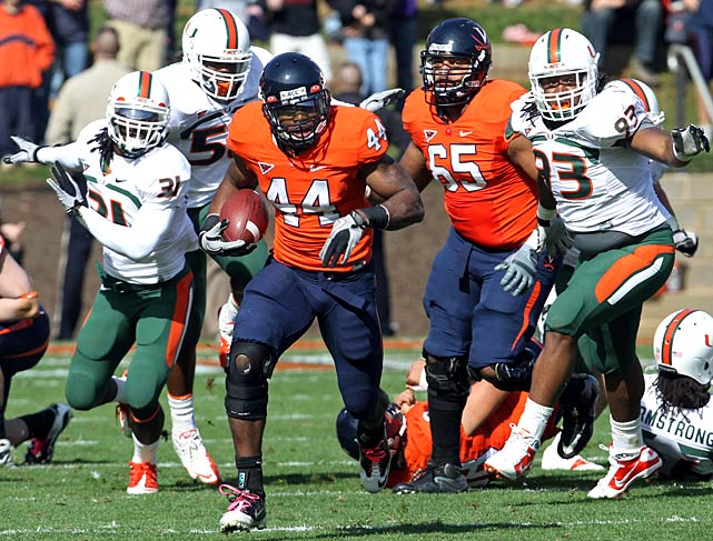 Starter Jacory Harris went down, and so did Miami. Virginia intercepted Harris' backups four times and amassed 185 rushing yards to hand the 'Canes their third loss -- and all but end their hopes of a Coastal Division title.