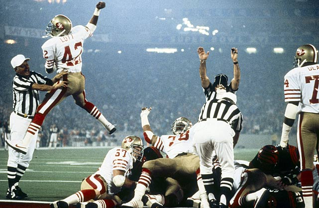 49ers' cornerback Ronnie Lott exults over a San Francisco defensive stop during Super Bowl XVI.