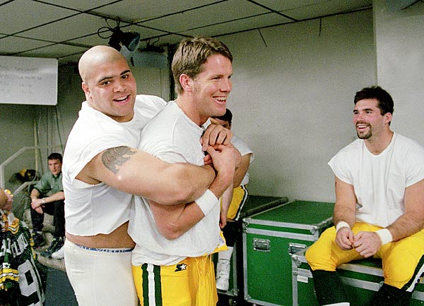 Favre goofs around in the locker room before the 1997 Super Bowl.