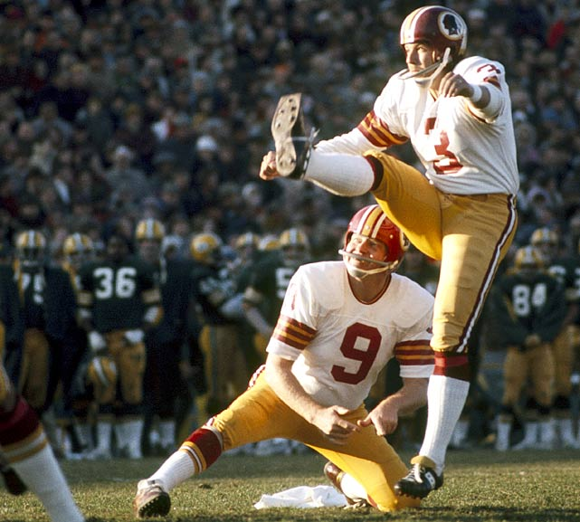 Redskins' kicker Mark Moseley boots a field goal during a 1974 showdown with the Green Bay Packers.