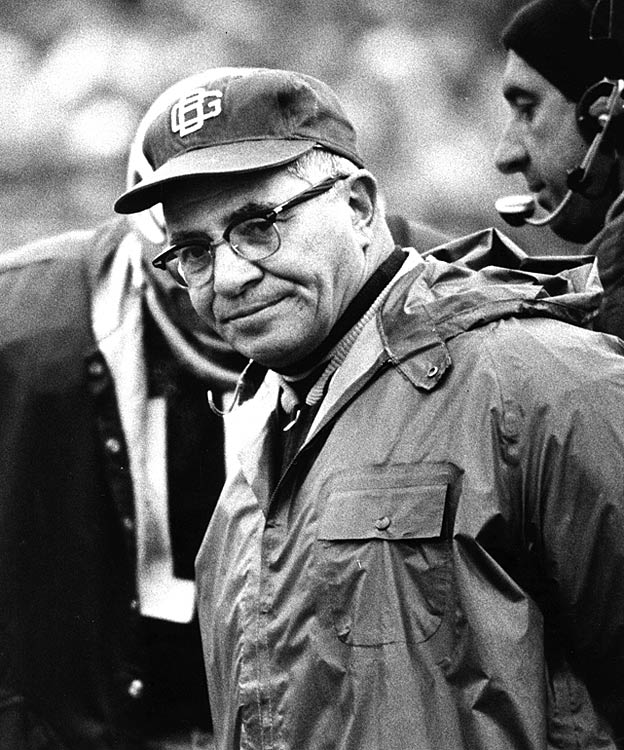 Legendary Green Bay coach Vince Lombardi roams the sidelines.
