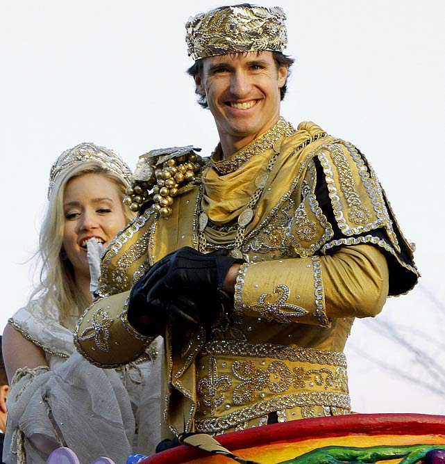 Drew and Brittany rode in the Bacchus Mardi Gras parade a week after the Super Bowl victory over the Colts.
