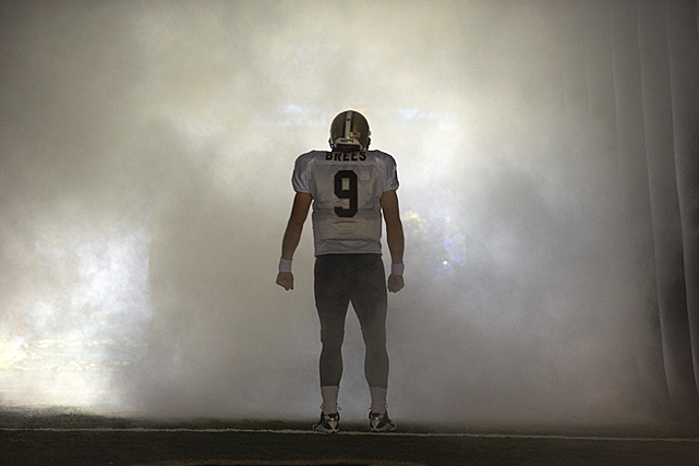 Brees enters the Superdome field prior to the Saints' 27-24 loss to Atlanta last September 26.