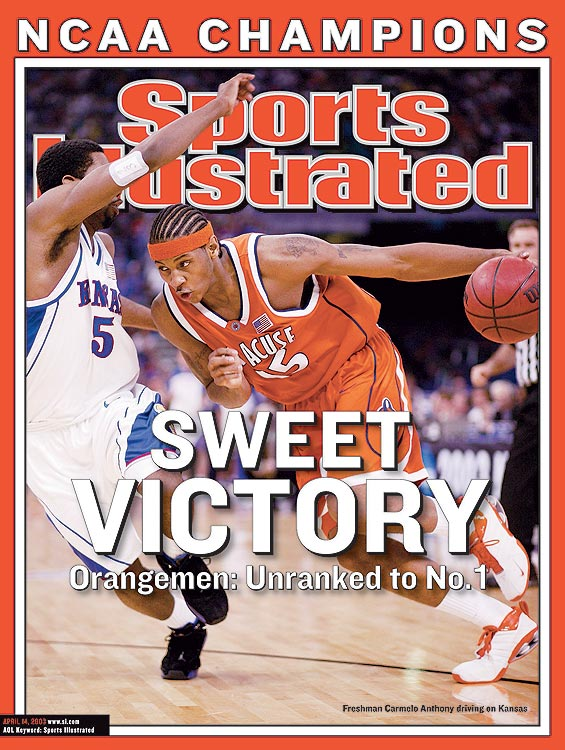 Carmelo Anthony's first collegiate basket was a dunk in Madison Square Garden. Quite an auspicious beginning for the Syracuse freshman, who, as the focal point for the Orangemen, would average 22.2 ppg and 10 rpg and lead his team to a national championship.  Anthony would declare for the NBA following his freshman season, but his legacy at Syracuse is everlasting.