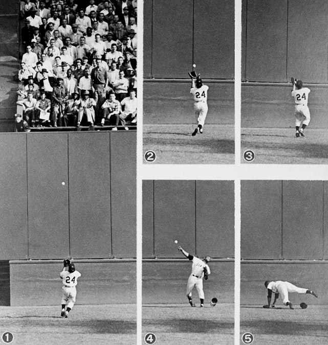 In Game 1, Mays made one of the most memorable catches in baseball history. It occurred in the eighth inning of Game 1, with two runners on in a 2-2 game. Indians first baseman Vic Wertz hit a long drive to deep center that would've driven in both runners, but Mays tracked the ball down on the warning track and made a unforgettable over-the-shoulder grab. The Giants would go on to win the game in the 10th inning.