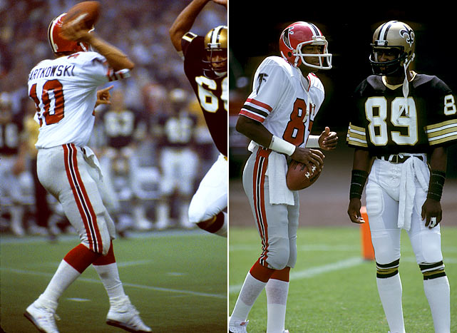 "After several middling years, it looked as though the Falcons might make their first playoff berth in 1978.  Standing at 6-4, the only thing that stood between the team and the postseason was a 17-13 deficit against the Saints.  With the ball at their 43-yard line, the Falcons lined up in the formation, ""Big Ben Right,"" and sprinted for the end zone as time dwindled.  Falcons quarterback Steve Bartkowski launched the ball toward the goal line, where Falcons receivers tipped it before it finally landed in Alfred Jackson's hands.   The victory would ultimately launch the 9-7 Falcons into the playoffs for the first time in franchise history."