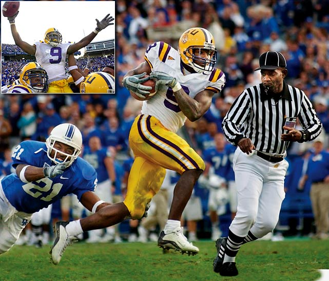 "On the final play of the game LSU quarterback Marcus Randall heaved the ball downfield looking for the end zone.  The ball fell well short of the goal line, and rabid Kentucky fans stormed the field as they believed their team has defeated LSU, who at the time was ranked No. 14 in the country.  The ball though, deflected off LSU receiver Michael Clayton's hands right into the hands of fellow LSU receiver Devery Henderson at the 15-yard line.  Henderson weaved his way through traffic and found the end zone for a game-winning touchdown.  The play is now known as the ""Bluegrass Miracle."""