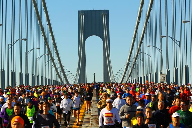 Runners cross the Verrazano Narrows Bridge at the start of the New York City Marathon on Nov. 7 in New York. The event was won by Gebre Gebremariam, a 26-year-old first time marathoner from Ethiopia in a time of 2 hours, 8 minutes and 14 seconds.