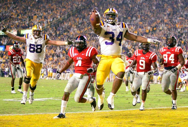 Louisiana State University running back Stevan Ridley celebrates afters scoring a touchdown late in the fourth quarter over the Ole Miss Rebels during their November 20 game in Baton Rouge. LSU defeated Ole Miss 43-36.