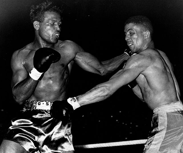 Robinson ( left ) regained the middleweight title with a 10th-round knockout of Randy Turpin before 60,000 fans at the Polo Grounds. He'd defend it successfully against Bobo Olson and Rocky Graziano before moving up in a failed bid for Joey Maxim's light heavyweight title. Shortly thereafter, Robinson retired to pursue a career in show business.