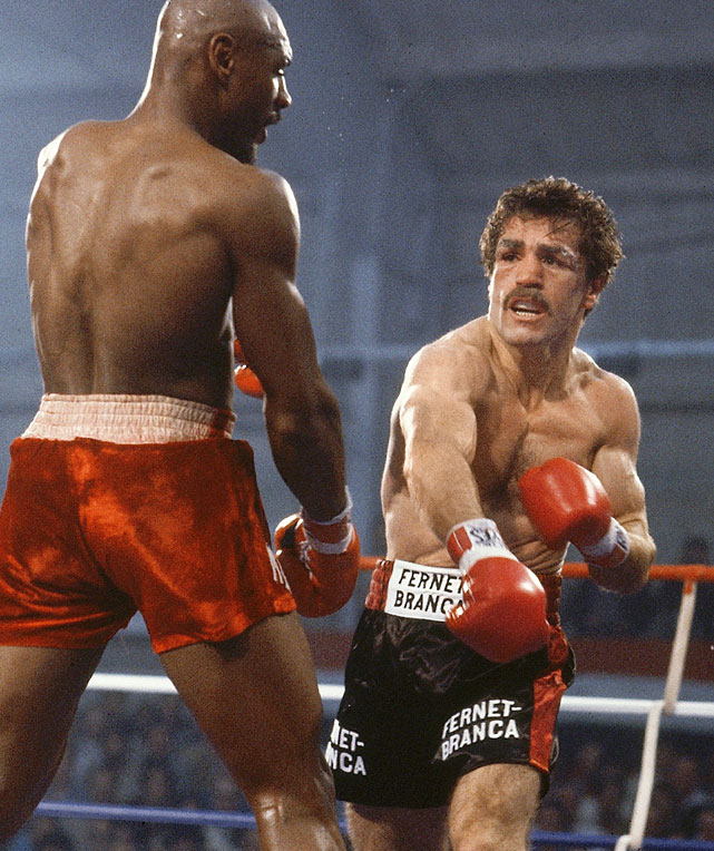 Antuofermo ( right ), who learned to fight on Brooklyn's mean streets after moving from Italy at 17, outpointed Argentina's Hugo Corro for the title in Monte Carlo. The cut-prone in-fighter retained it on a dubious 15-round draw against Marvin Hagler before losing a split decision to Alan Minter.
