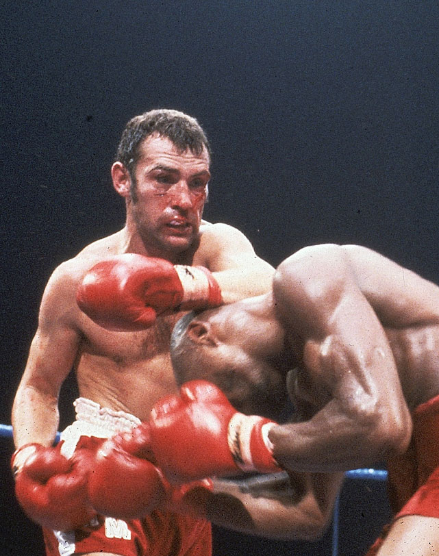 Minter ( left ), an English southpaw who earned a bronze medal at the Munich Olympics in 1972, won a 15-round decision over Vito Antuofermo for the title and retained it on an eighth-round TKO in the rematch. The end came at London's Wembley Arena, where Marvin Hagler stopped him on cuts in three rounds (and a riot ensued).