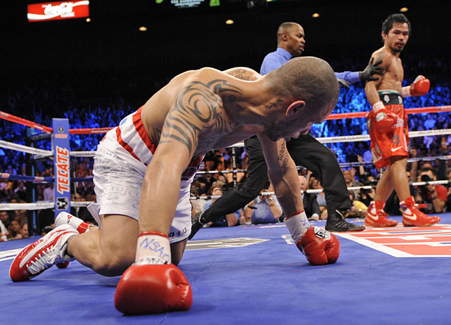 With his 12th-round knockout victory over Cotto for the WBO welterweight title -- in a bout fought at a catch-weight of 145 pounds -- Pacquiao became the first boxer to win titles in seven divisions.