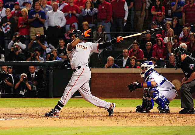 Known for delivering the walk-off hit in the 1997 World Series, shortstop Edgar Renteria came through again in 2010.  He smacked the game-winning three-run homer off Texas' ace Cliff Lee in Game 5, propelling the Giants to their first title since 1954.