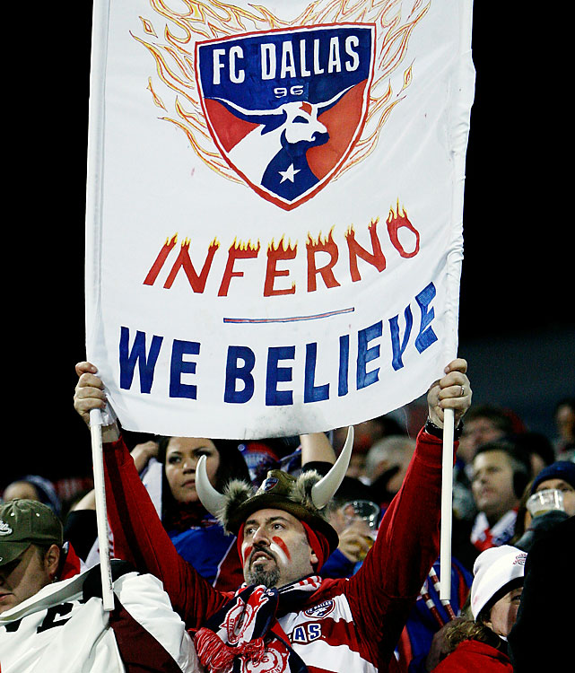 A fan of FC Dallas cheers during the first half of the MLS Cup in Toronto, 1,200 miles away from the heart of Texas.