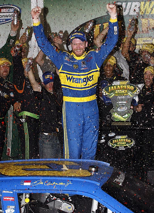 Nostalgia was thick as mid-summer humidity as Dale Earnhardt Jr. took a cooperatively produced Richard Childress Racing- Earnhardt Ganassi No. 3 Chevrolet to victory lane in the blue and gold Wrangler scheme made legend by his last father. Earnhardt Jr. says he won't race in the number again. The question remains, however, whether Childress will allow his increasingly successful grandson, Austin Dillon, to use it once he progresses from the truck and Nationwide series.